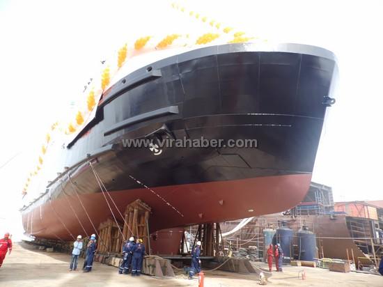 """Ada Tersanesinin 3.gemisi """"Lovund"""" denize indirildi 1"""