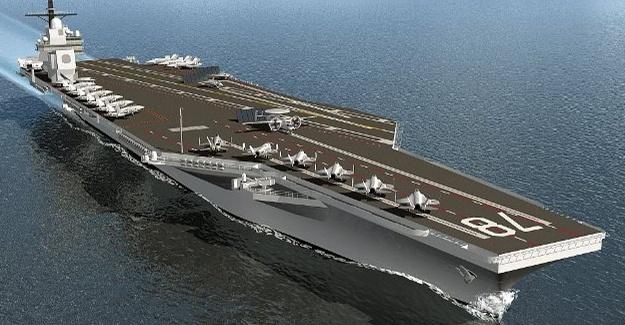 Dev uçak gemisi denize indiriliyor 5