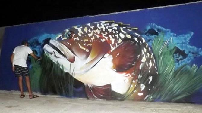 Nesli tükenme riski olan orfoz balığı liman mendireğinde