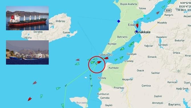 Çanakkale Boğazı girişinde gemi kazası