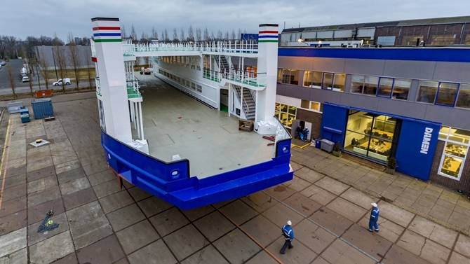 RoPax passenger ferry hull launched at Niron Staal Amsterdam