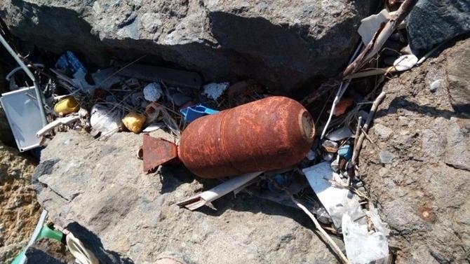 Samsun sahilinde bilinmeyen mühimmata rastlandı