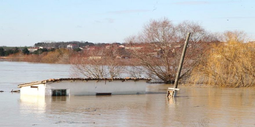 Ergene Nehri taştı, bölge sular altında