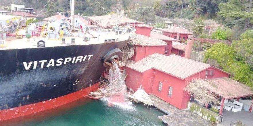 Yalıya çarpan gemideki mallara haciz