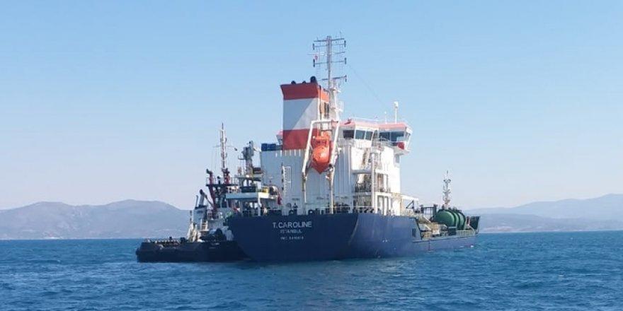 Su alan akaryakıt gemisi Aliağa'ya çekiliyor