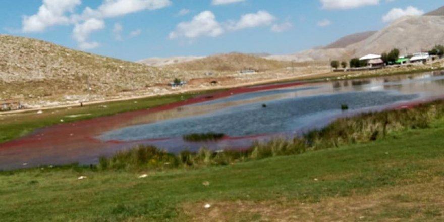 Göl kırmızıya döndü, halk tedirgin