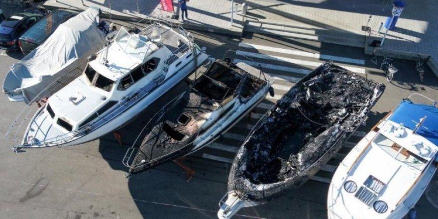 Yat limanındaki 8 tekne cayır cayır yandı