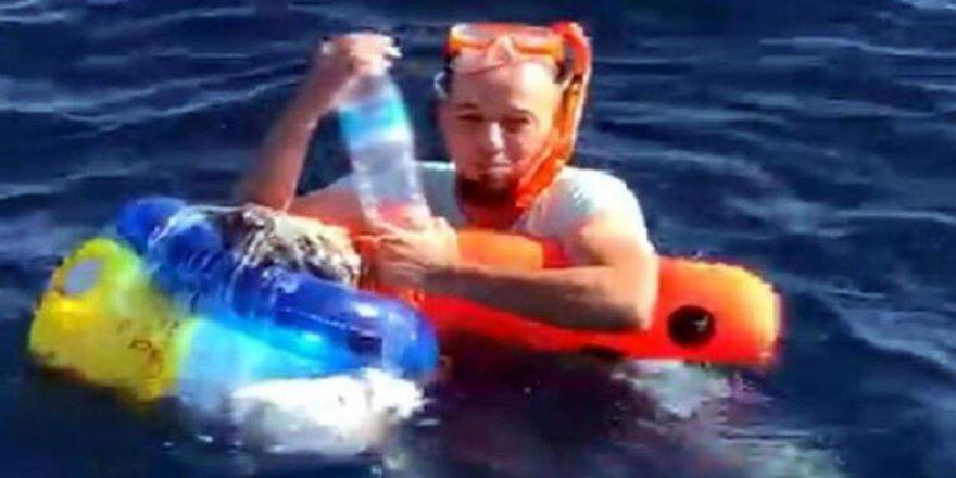 Şnorkel ve deniz simidiyle kaçmaya çalıştı