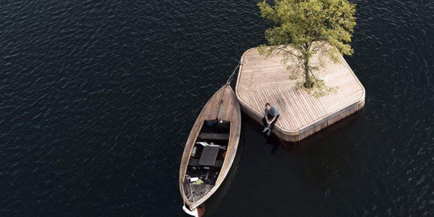 Kopenhag limanında el yapımı bir ada
