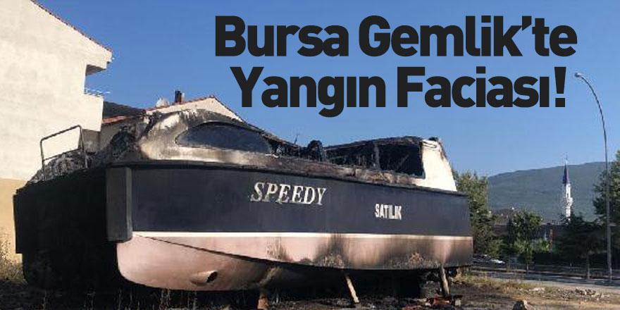 Bursa'da Karaya Çekilen Yat Alev Aldı