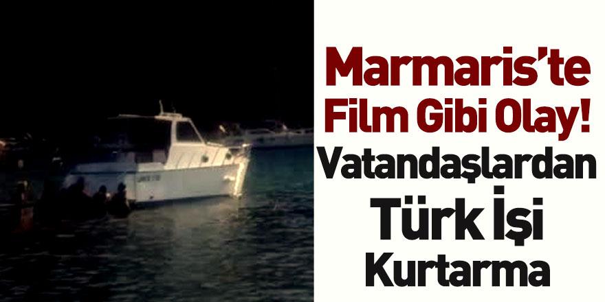 Marmaris'te Karaya Oturan Lüks Tekneyi Vatandaşlar İterek Kurtardı