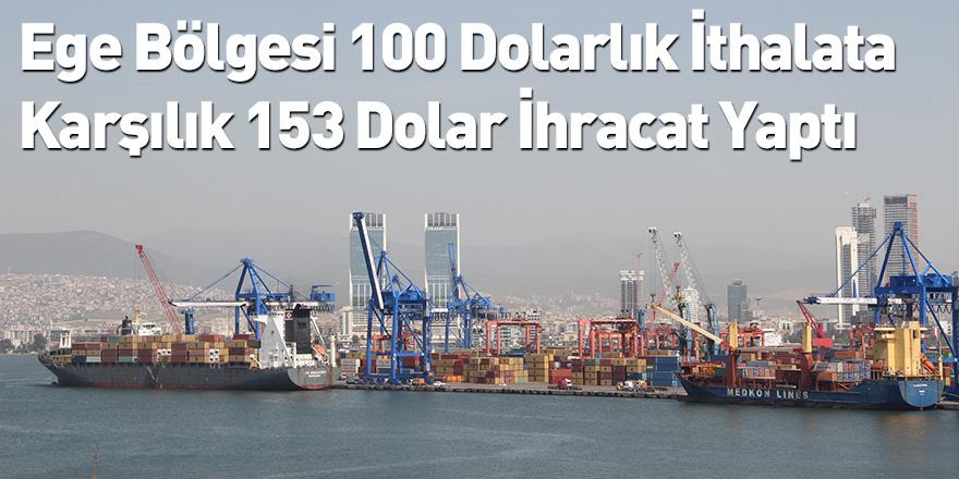 Ege Bölgesi 100 Dolarlık İthalata Karşılık 153 Dolar İhracat Yaptı