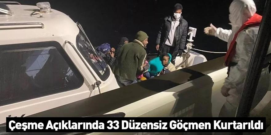 Çeşme Açıklarında 33 Düzensiz Göçmen Kurtarıldı