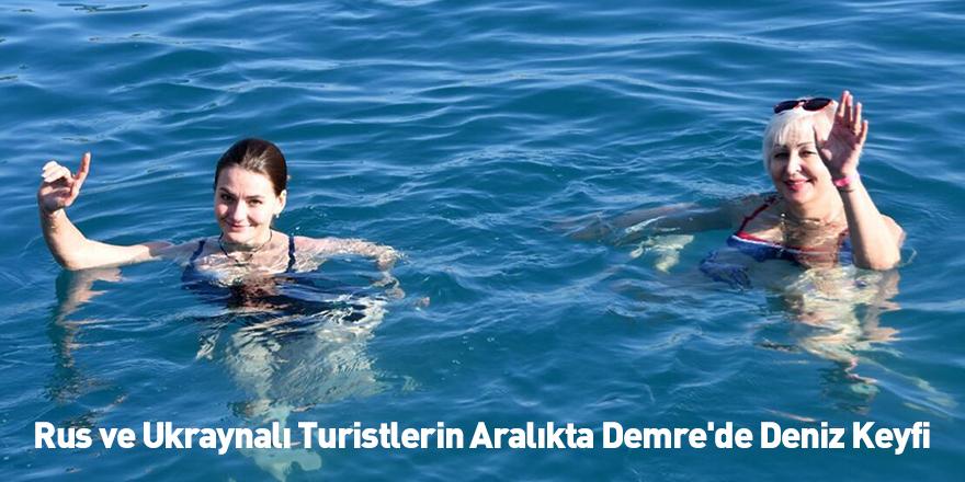 Rus ve Ukraynalı Turistlerin Aralıkta Demre'de Deniz Keyfi