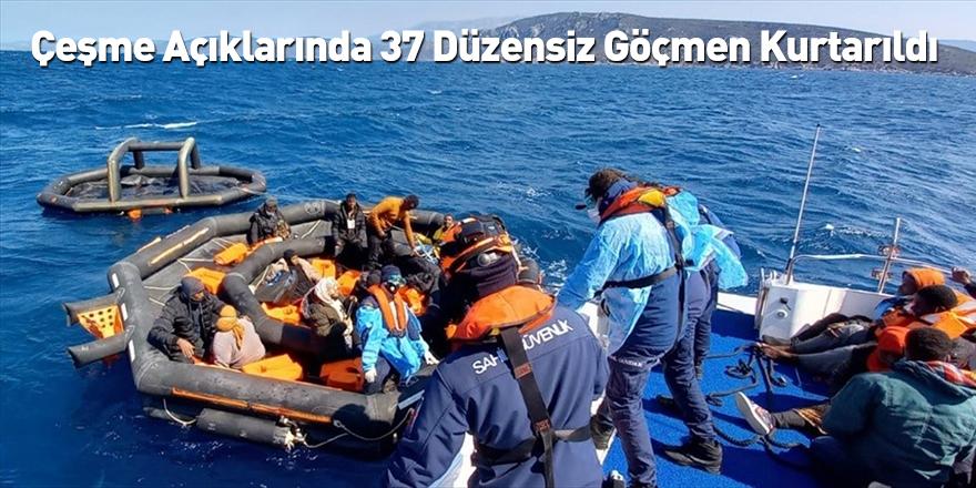 Çeşme Açıklarında 37 Düzensiz Göçmen Kurtarıldı