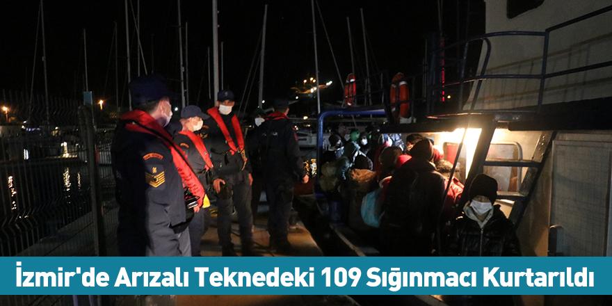İzmir'de Arızalı Teknedeki 109 Sığınmacı Kurtarıldı