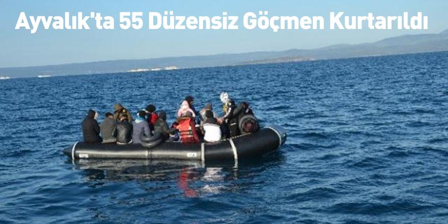 Ayvalık'ta 55 Düzensiz Göçmen Kurtarıldı