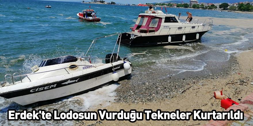 Erdek'te Lodosun Vurduğu Tekneler Kurtarıldı