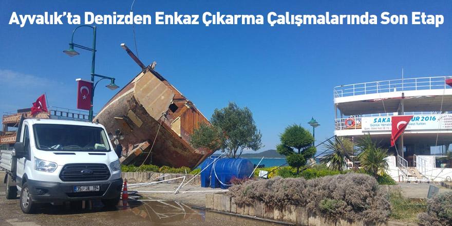 Ayvalık'ta Denizden Enkaz Çıkarma Çalışmalarında Son Etap