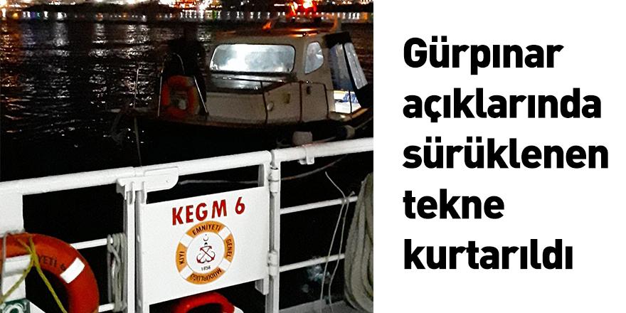 Gürpınar açıklarında sürüklenen tekne kurtarıldı