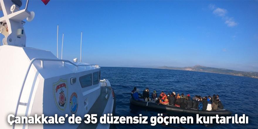 Çanakkale açıklarında 35 düzensiz göçmen kurtarıldı