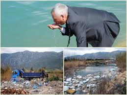 Başkan, gölden su içti