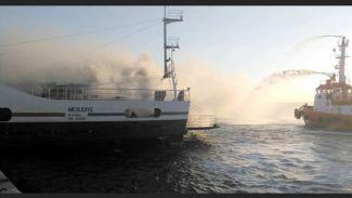 Çanakkale'de seferi yapan M/F Mesudiye feribotunda yangın çıktı