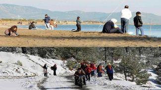 Turizm cenneti Muğla'da hem kar hem de deniz keyfi