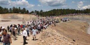 Binlerce kişi Kazdağları'nda şantiye alanına girdi