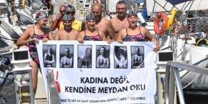 Kadına şiddete karşı 24 saat yüzdüler