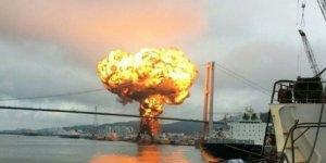 Petrol tankerinde patlama: 9 denizci yaralı