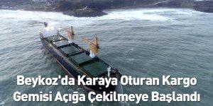 Beykoz'da Karaya Oturan Kargo Gemisi Açığa Çekilmeye Başlandı