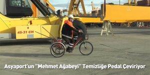 """Asyaport'un """"Mehmet Ağabeyi"""" Temizliğe Pedal Çeviriyor"""