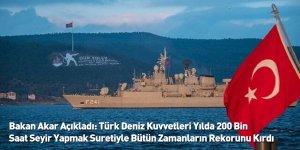 Bakan Akar Açıkladı: Türk Deniz Kuvvetleri Yılda 200 Bin Saat Seyir Yapmak Suretiyle Bütün Zamanların Rekorunu Kırdı