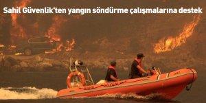 Sahil Güvenlik'ten yangın söndürme çalışmalarına destek