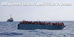 800 göçmeni taşıyan 2 gemi Sicilya'ya yanaştı