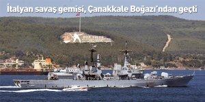 İtalyan savaş gemisi, Çanakkale Boğazı'ndan geçti