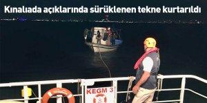 Kınalıada açıklarında sürüklenen tekne kurtarıldı