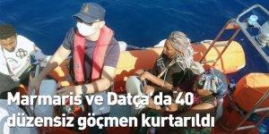 Marmaris ve Datça'da 40 düzensiz göçmen kurtarıldı