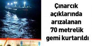 Çınarcık açıklarında arızalanan 70 metrelik gemi kurtarıldı