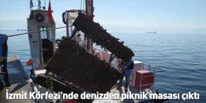 İzmit Körfezi'nde denizden piknik masası çıktı
