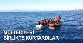 Türk ve Yunan Sahil Güvenlik ekipleri birlikte mültecileri kurtardı