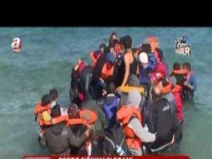 Ege Denizi'nde ki mülteci yolculuğu görüntülendi